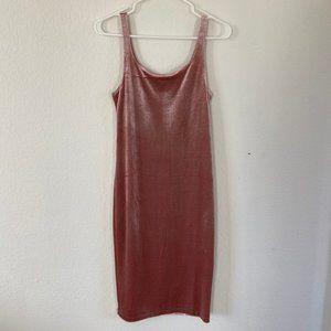 Dusty Rose Pink Velvet Bodycon Dress ZARA